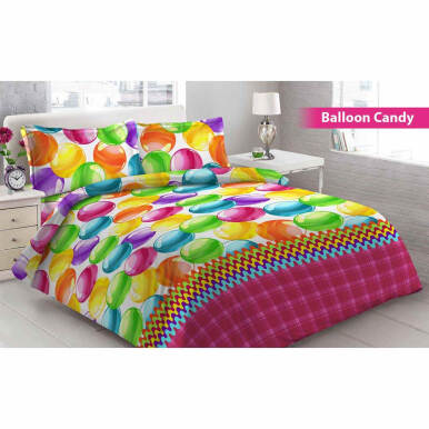 Bed Cover 3D Vito Disperse King Bantal 2 Balon Candy - Pink