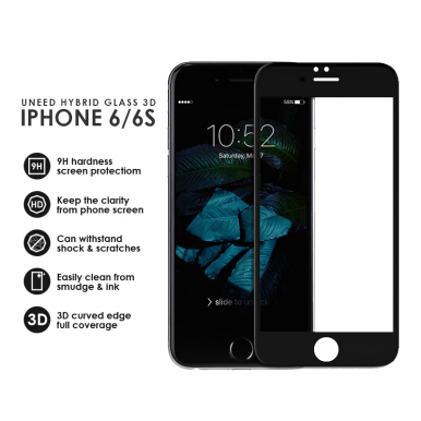 UNEED Shield 3D Hybrid Glass Protector for iPhone 6 Anti Break - Black