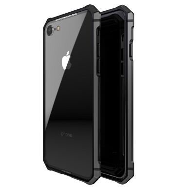 RockWolf iPhone 8 case Mirror tempered glass broken mobile phone protective shell BLACK
