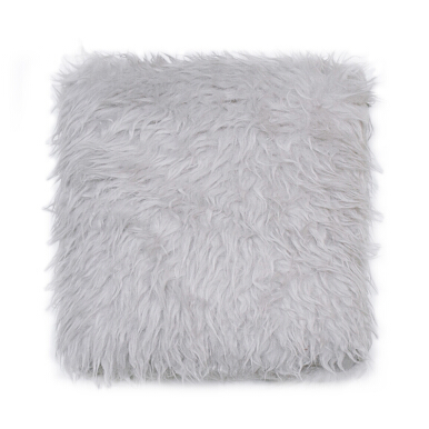 GLERRY HOME DÉCOR Light Grey Fur Cushion - 40x40Cm