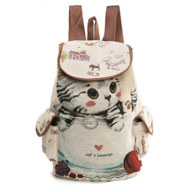 TBQ Cute Cat Backpack Women Canvas Backpack Drawstring Printing Backpacks For Teenage Girls Large Capacity School Bag Brown