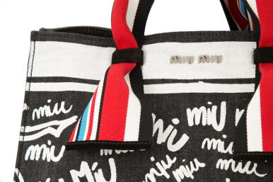 Miu Miu Denim Logo Shopping Bag