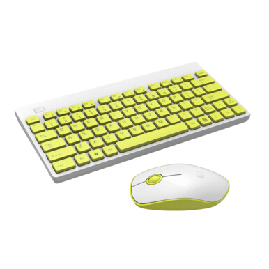 Ultra Silent Thin 2.4GHz Wireless Small Keyboard and Mouse Set Kit for Desktop Notebook Yellow