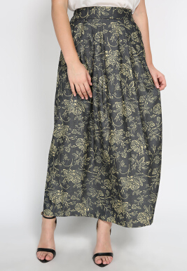 Chambray Floral Printing Maxi Skirt Grey Cream Mobile Power Ladies - C8330 Black S