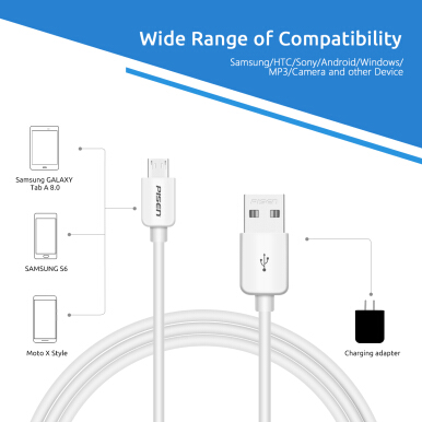 Pisen Micro USB Cable Black - 800mm