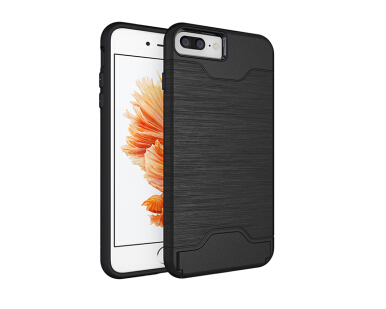 Smatton Phone Case Apple iphone 7 Plus 8 Plus Anti-knock Case Brushed PC + TPU Silicon Back Cover With card slot kickstand Shell Black