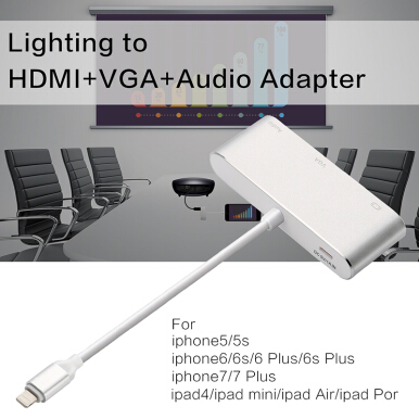 Smatton Aluminium Alloy Lightning To HDMI VGA Audio Converter Adapter The third Generation For Apple iphone6/6s/7/8/X Ipad #P38 Silver