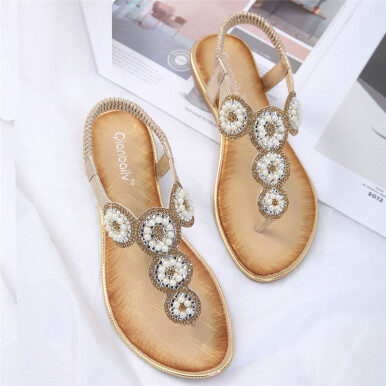 BESSKY Women Fashion Flat Large Size Rhinestone Flower Casual Sandals Beach Shoes_ Gold 35