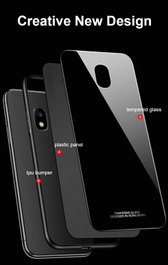 VEN For Samsung Galaxy J7 Plus Case Tempered Glass Back+Soft Silicone Around Cover Luxury Soft Silicone Edge Hard Back Black