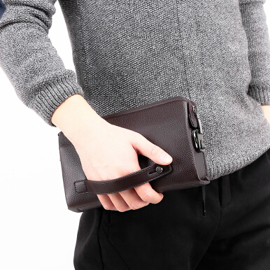 Wei's  Men Fashion Credit Card Purse Long-size Wallet Multi-function Zipper Hand Bag Men's Handbag fdk20181 Black