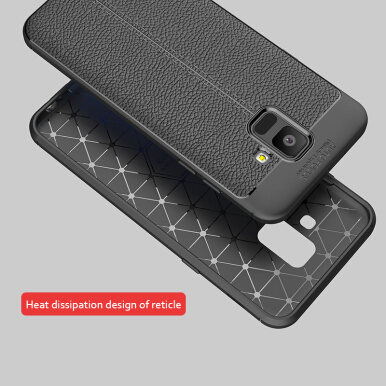 Keymao Samsung Galaxy A6 Case Luxury TPU Flip Leather Full Protective Back Cover Grey