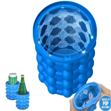 New Silicone Ice Bucket Irdle Ice Cube Maker Genie Silicone Blue
