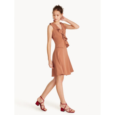 Mini Sleeveless Ruffle V Neck Dress [XS]
