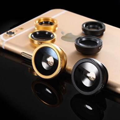 Wei's Mobile Phone Lens Fish Eye Wide Angle Three In One E-jingtou003 Gold