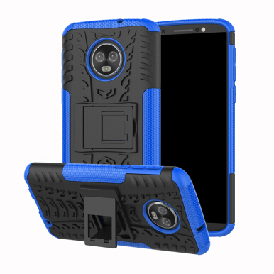 GANGXUN®Motorola Moto G6 Plus Slim Robot Armor Kickstand Shockproof Hard Rugged back Case Blue