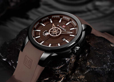 NAVIFORCE Luxury Brand Men Sport Watches Men's Casual Date Quartz Military Wristwatches Black-Coffee