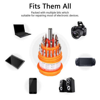AOSEN Excelvan 31 in one Screwdriver Set Screwdriver Bits Precision Bits Easy to take Opening Tool Screwdriver Papaya Orange