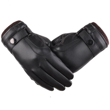 SiYing Men's Fashion Business Leather Imported Gloves Business Office Gloves-Black