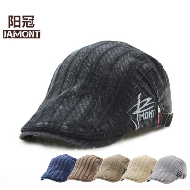 JAMONT Men's 2018 New Fashion Cotton Stripe Berey Sun Visor Hat-Black