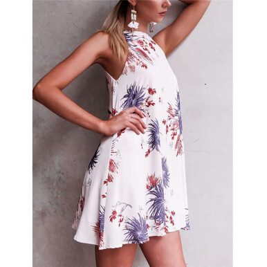 BESSKY Womens Floral Print Sleeveless Cocktail Mini Dress Casual Party Dress _ White S