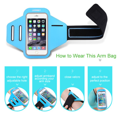 UGREEN Handphone Running Sport Cover Holder hp Universal Arm band Case Bicycle Case Cover Blue
