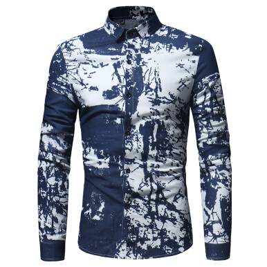 Fashionmall Tie Dye Print Cotton Linen Long Sleeve Shirt Cadetblue XL