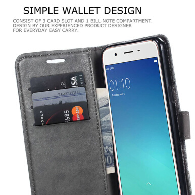 DLEIVE OPPO F5 Case Fashion Canvas Flip Leather Stitching Cover Grey