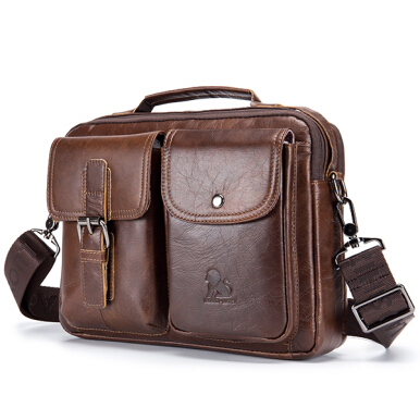 Laoshizi Mens Leather Messenger Bag Retro Laptop Bag Business Briefcase Shoulder Bag Brown