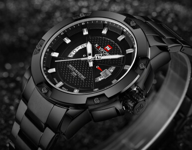 NAVIFORCE Luxury Brand Steel Military Sports Watches Men Quartz Waterproof Men's Clock Wristwatch relogio masculino Black