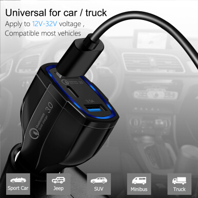JOYSEUS Quick Charge 3.0 Dual USB Car Fast Charger For iPhone Samsung Xiaomi LG Car-charger QC3.0 USB PD Type-C Car Charger LED White