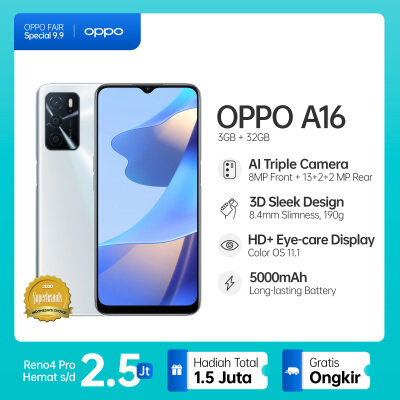 OPPO A16 - 3/32GB - 5000mAh Battery - AI Face Unlock Silver OPPO Official Store