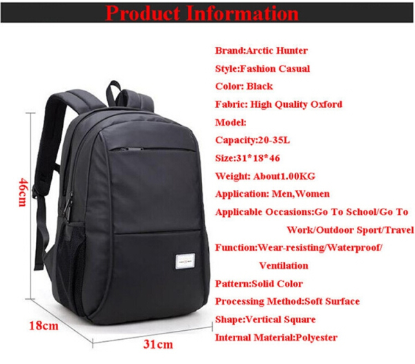 Harga Arctic Hunter Tas Ransel Laptop Premium Executive Winter Oxford Backpack - Hitam AH-WR