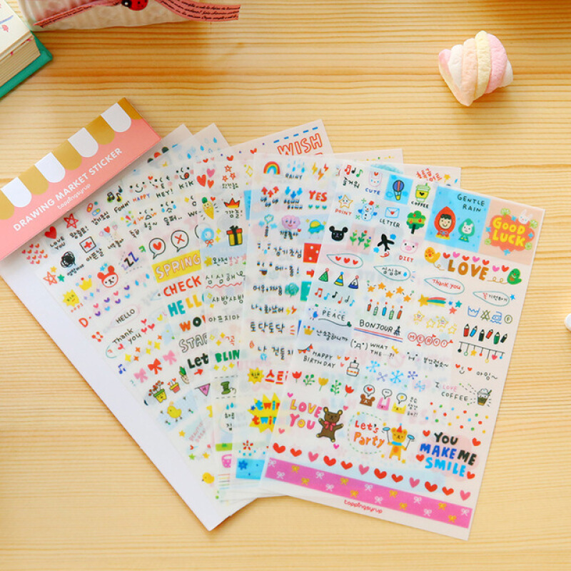 45Pcs Cake Whale Bike Pet Paper Sticker Diary Scrapbooking Label L