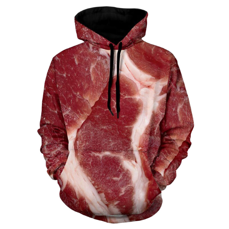Fashionmall Raw Meat 3D Print Hoodie Colormix L