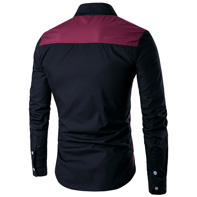 Fashionmall Slim-Fit Two Tone Long Sleeve Shirt Wine Red 2XL