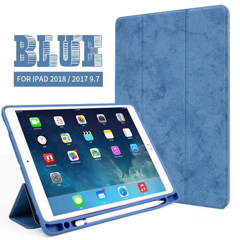 Jual Keymao Apple iPad Air 2/iPad 6 case Luxury Soft Leather Stand Cover Pencil Tablet Leather Pen Slot Cover Blue Keymao official store