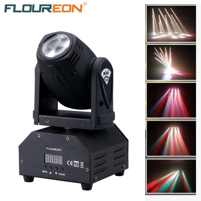 Floureon® 50W LED Mini Moving Head Beam Light,4in1 RGBW Cree LED,DMX512 11/13 CH Disco Stage lighting For DJ Pub,KTV,Night Party, Wedding Party.  EU