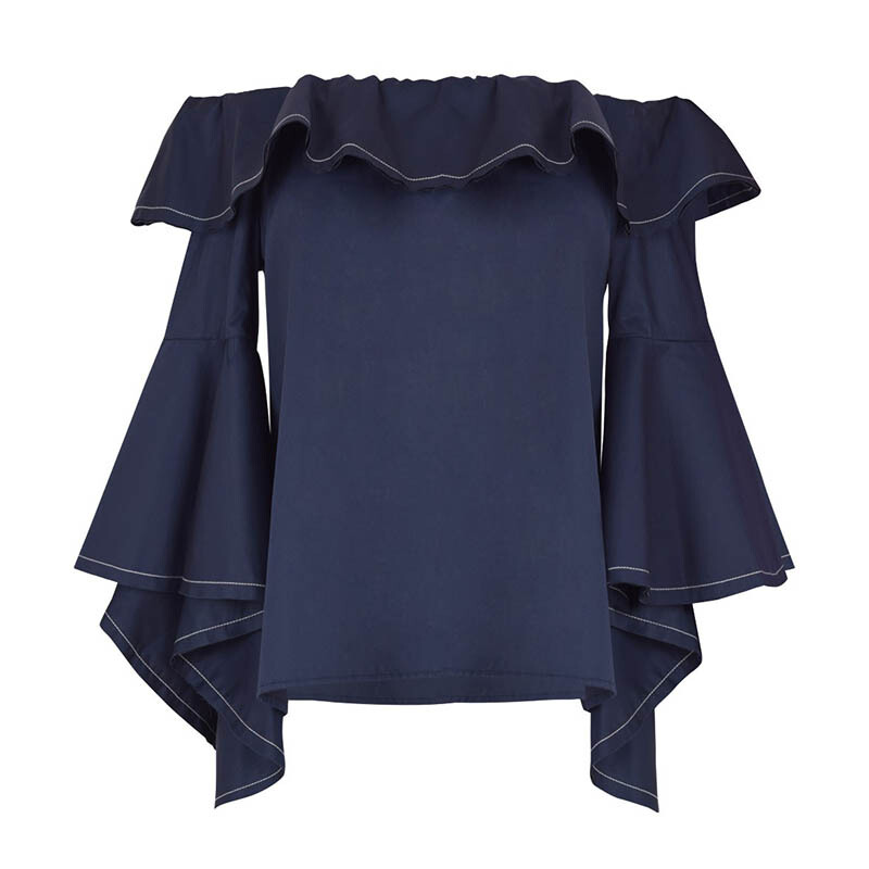10a90bb401e21b Jual ALEXIS Michelle Off-The-Shoulder Ruffle Top - Blue S  ALE21011972038   JD.id