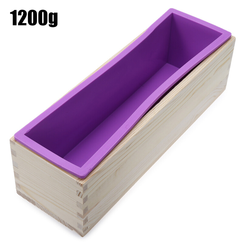 1200g Silicone Soap Loaf Mold Wooden Box DIY Making Tool