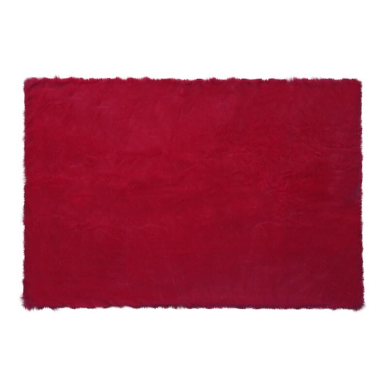 GLERRY HOME DÉCOR Square Red Chilli Fur Rug - 150x100Cm