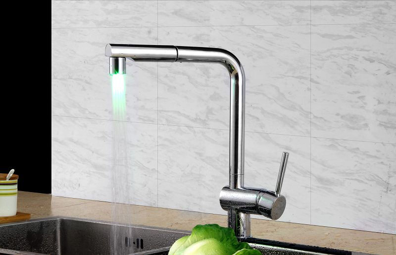 LANGFAN J6206 LED Color Pull Down Sprayer Unique Design Hot & Cold Water faucet