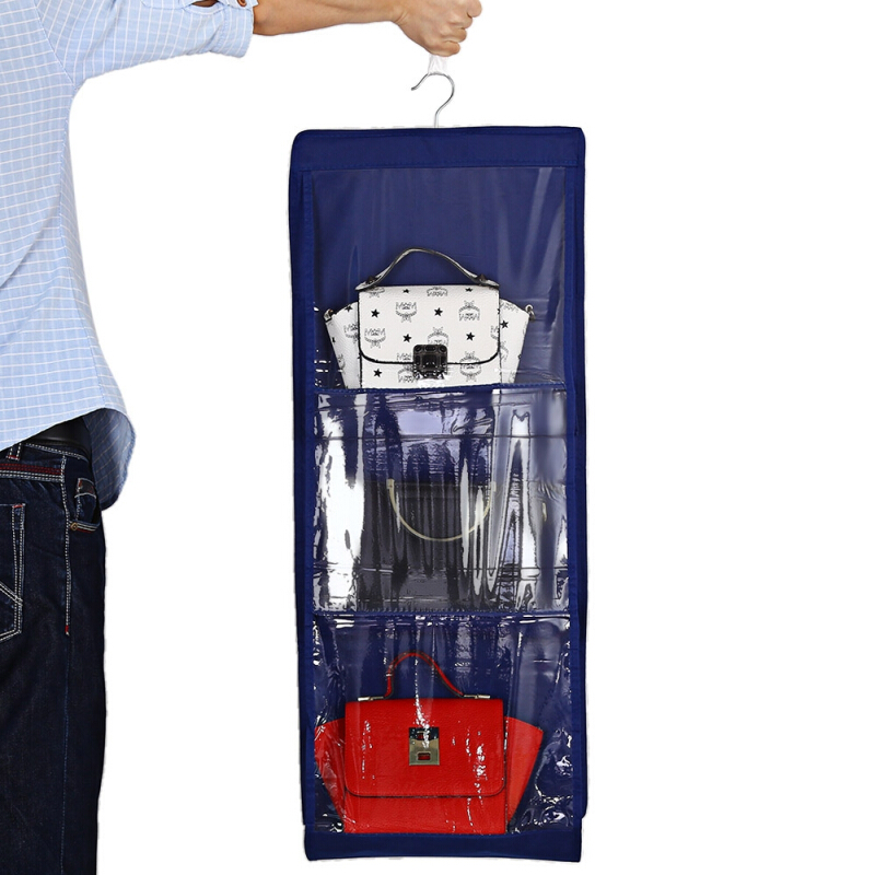 6 Pockets Hanging Closet Handbag Holder Storage Bag