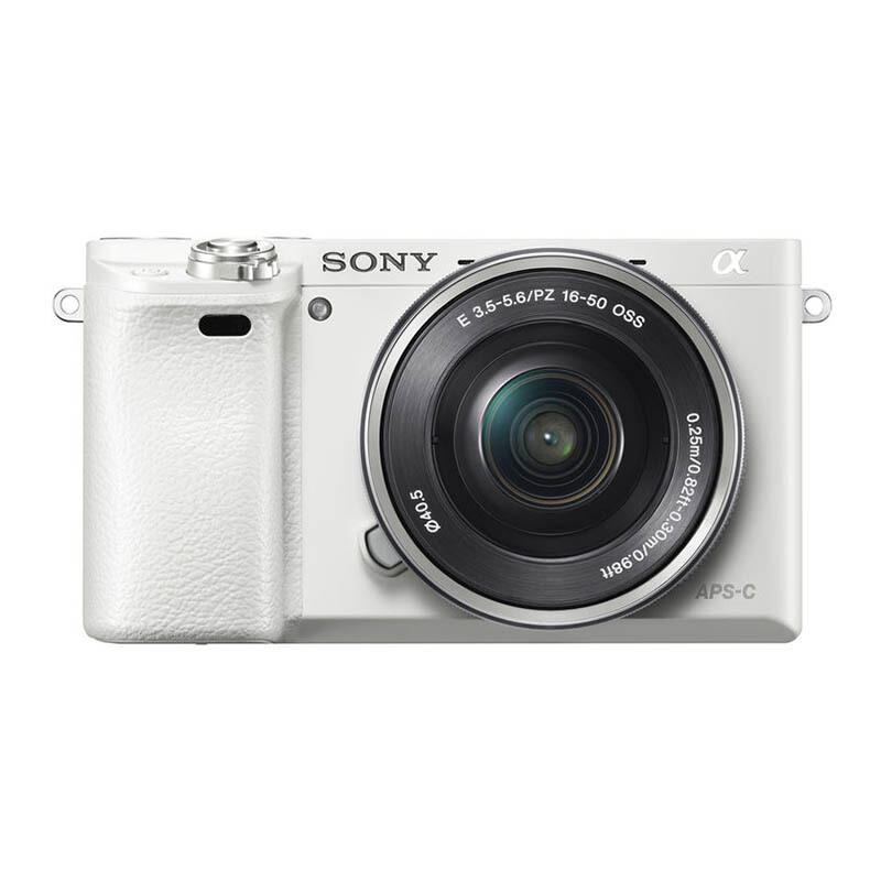 sony ilce 6000. sony ilce-6000 mirrorless 16-50mm kit - white sony ilce 6000