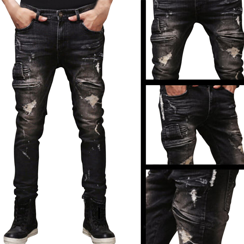Mens Ripped Biker Jeans 100% Cotton Black Slim Fit Motorcycle Jeans Menntage Distressed Denim Jeans Pants