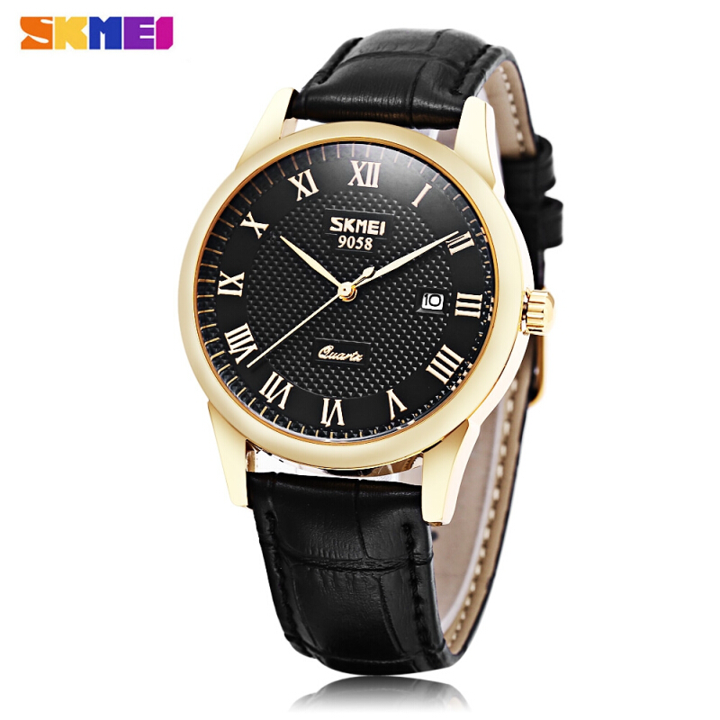 SKMEI 9058 Male Quartz Watch Genuine Leather Band Date Display 30m Water Resistance Wristwatch