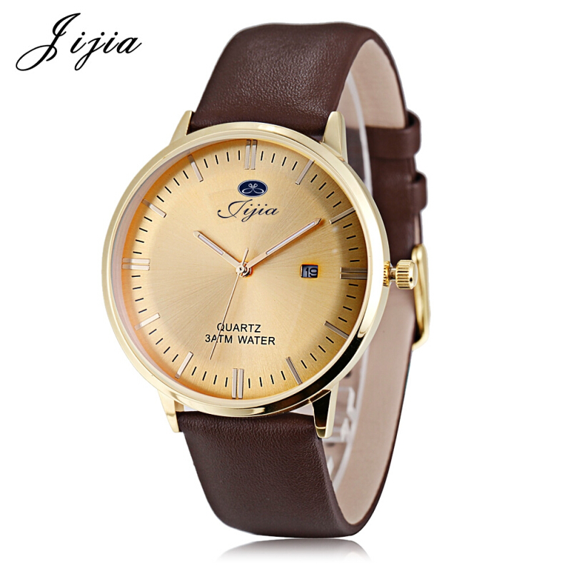 Jijia SG1279 Men Quartz Watch Date Display Genuine Leather Band 3ATM Luminous Wristwatch