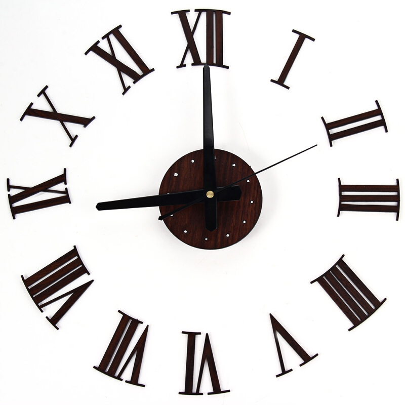 3D Creative Home Modern Art Metallic Roman Numerals Decoration DIY Wall Clock