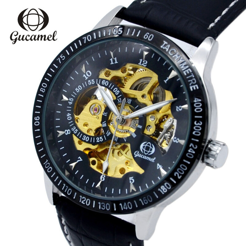 Gucamel G024 Male Auto Mechanical Watch Luminous Genuine Leather Band Wristwatch