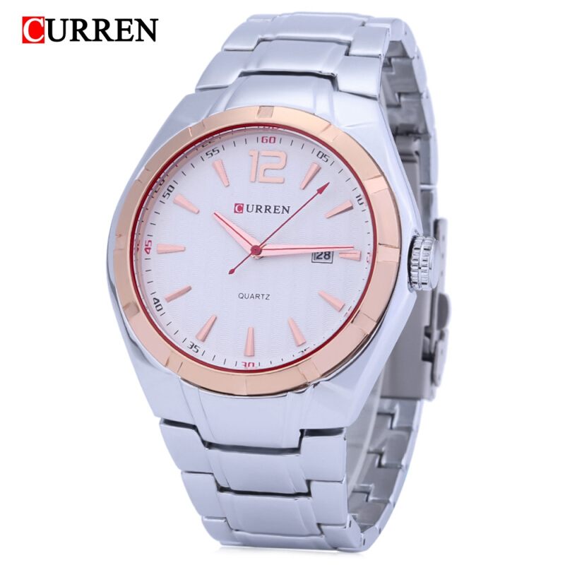 Curren 8103 Male Quartz Watch Date Display Nail Scale Water Resistance Stainless Steel Strap Wristwatch