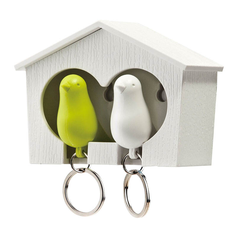 QUALY Duo Sparrow Keyring - White Green/QL10124WHWHGN
